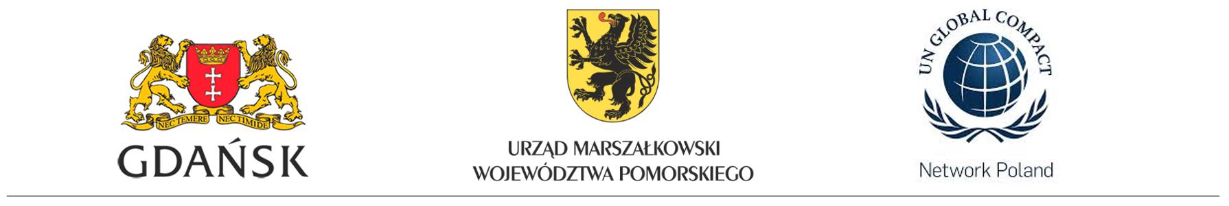 Logotyp Gdańska, Urzędu Marszałkowskiego Województwa Pomorskiego oraz firmy Global Compact